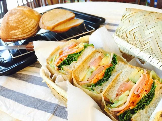 大阪 江坂 料理・天然酵母パン・ケーキ教室 | ビギナークラス☆カンパーニュでわんぱくサンド