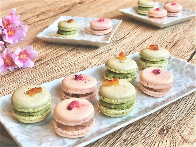 大阪 江坂 料理・天然酵母パン・ケーキ教室 | マカロンイベント〜桜&抹茶〜